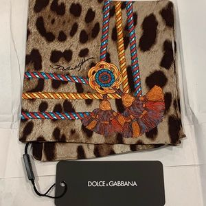 Dolce and Gabbana Brown Leopard Tassel Silk Scarf